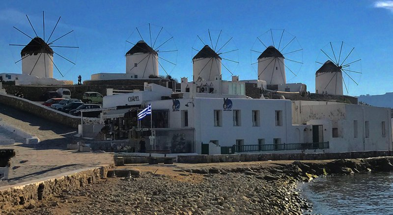 Mykonis Windmills at Sunset