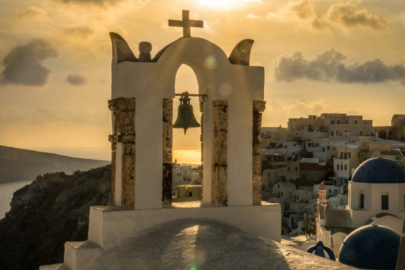 Oia bell tower sunset