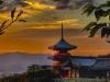 toji pagoda Kyoto sunset