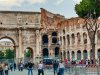 Arch of Constantine showing part of the Coliseum