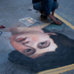 Sidewalk Art on the Sidewalks of Florence, Talented Art Students doing Chalk Art