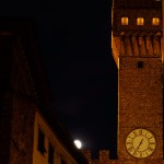 Moon peaking out near the Bell Tower, Plazzo Vecchio, Florence
