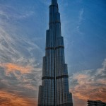 Panorama of Burj Khalifa at sunset
