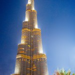 The BurjKhalifa is all lite up at night