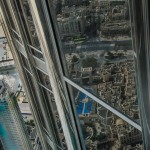 Inside the Burj Khalifa looking at the reflection of the ground