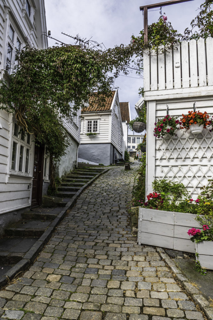 Walk up a hill to the white houses